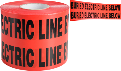 "CULLY 94615 Red ""Buried ElectricalLine"" Tape, 6"" x 1000'"