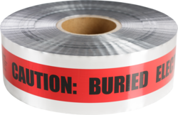 "CULLY 94636 Underground DetectableTape ""BURIED ELECTRICAL LINE"",Silver w/ Red Stripes, 6"" x 1000'"